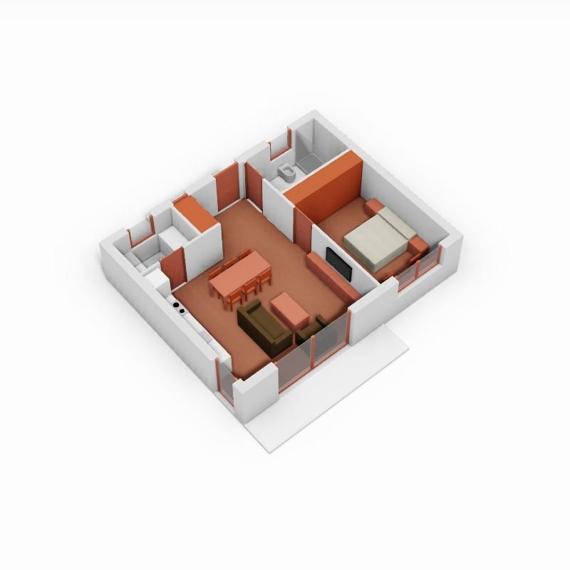 Casa de 1 domitorio. 3D.