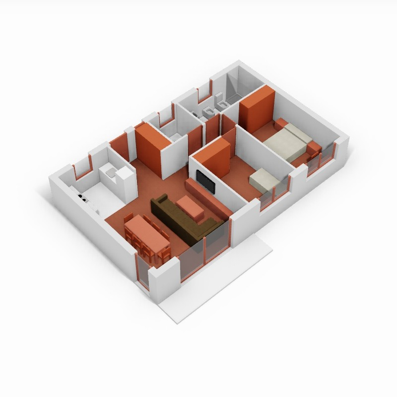 Casa de 2 domitorio. 3D.