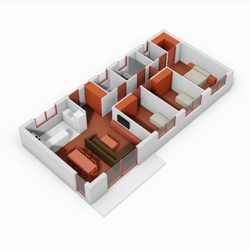 Casa de 3 dormitorios. 3D.