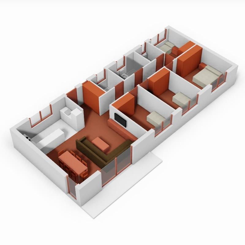 Casa de 4 domitorios. 3D.