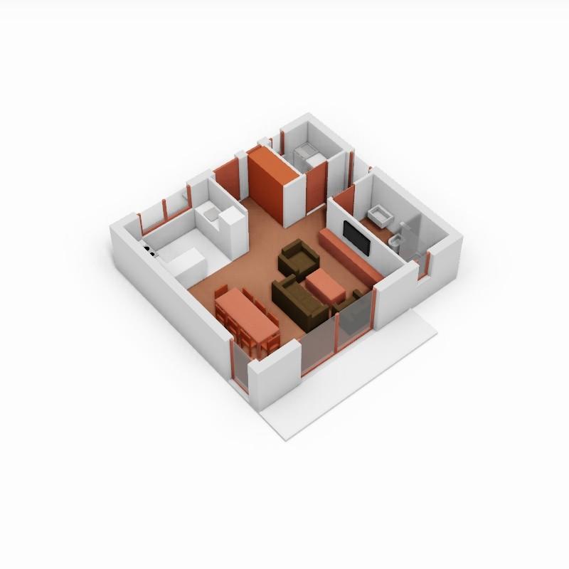 Casa Estudio. 3D.