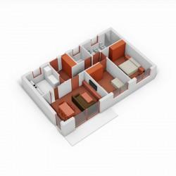 Casa de 2 dormitorios y cocina independiente. 3D.