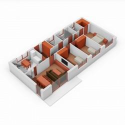 Casa de 3 dormitorios y cocina independiente. 3D.