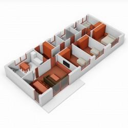 Casa de 4 dormitorios y cocina independiente. 3D.
