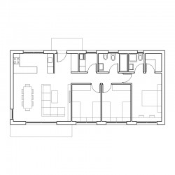 Casa de 3 dormitorios. Planta.