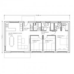 Casa de 3 dormitorios. Planta acotada.