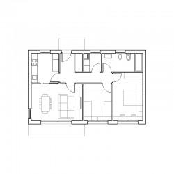 Casa de 2 dormitorios y cocina independiente. Planta.