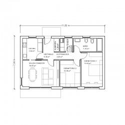 Casa de 2 dormitorios y cocina independiente. Planta acotada.