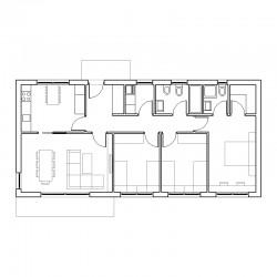 Casa de 3 dormitorios y cocina independiente. Planta.