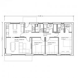 Casa de 3 dormitorios y cocina independiente. Planta acotada.