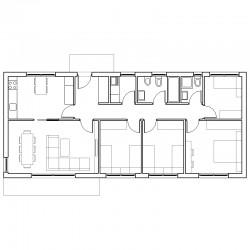 Casa de 4 dormitorios y cocina independiente. Planta.