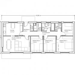 Casa de 4 dormitorios y cocina independiente. Planta acotada.